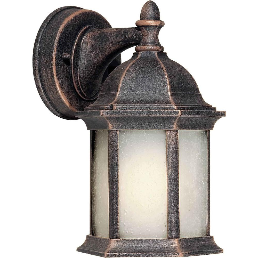 Talista 1 Light Outdoor Lantern Painted Rust Finish Frosted Seeded Glass Panels