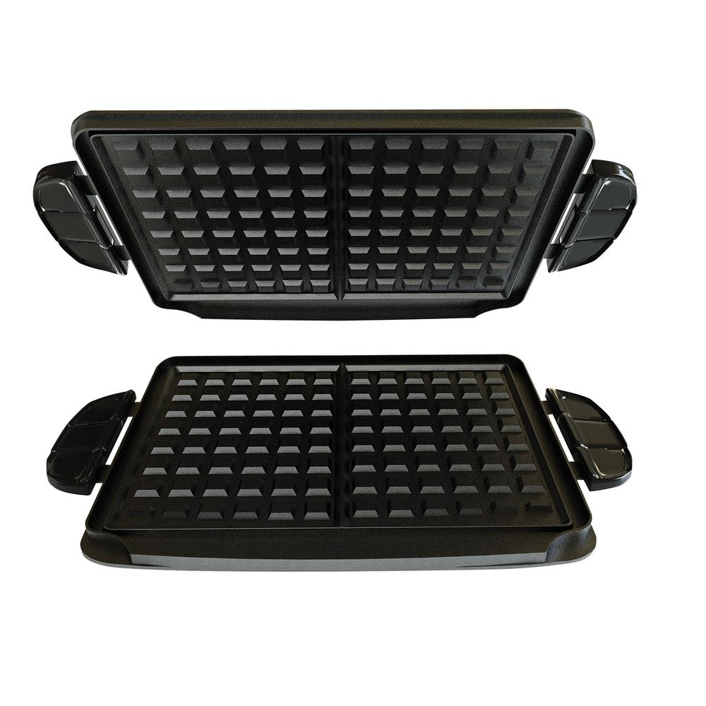 BLACK+DECKER Evolve Waffle Plates, Black Take your George Foreman Evolve Grill System to the next level. The Waffle Plates turn out huge waffles for a delicious, filling breakfast. Plus, these plates let you get creative in the kitchen. Try making cinnamon rolls, hash browns, eggs, and more. The nonstick coating reduces the need for oil, plus its dishwasher safe for easy cleanup. Get the Waffle Plates and evolve your cooking. Color: Black.