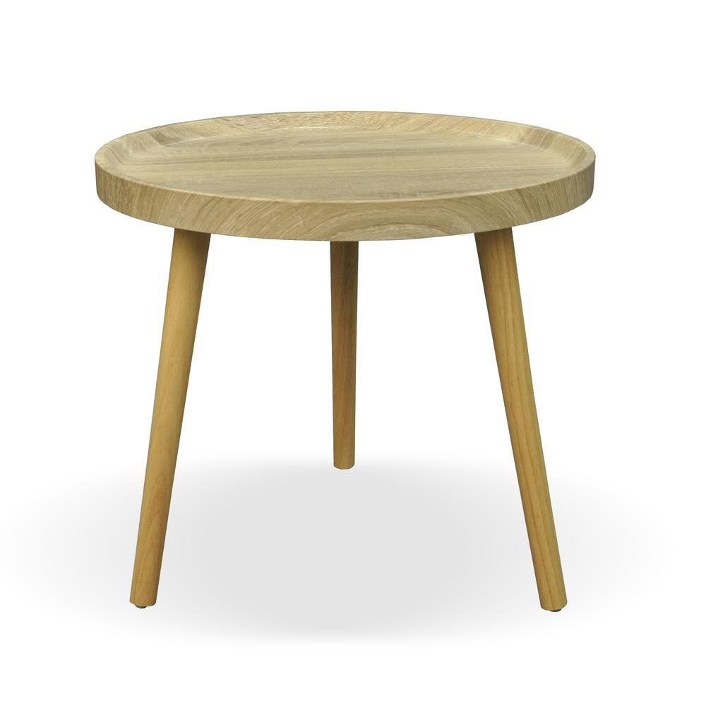 Le House Marquette Traditional Round Oak Brown Faux Wood Side Table 306117 The Home Depot