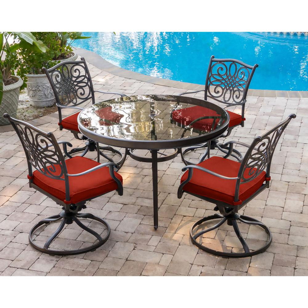 Hanover Traditions 5 Piece Aluminum Outdoor Dining Set With Swivel Chairs With Red Cushions And Glass Top Table Traddn5pcswg Red The Home Depot