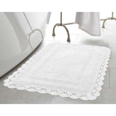 Crochet 100% Cotton 17 in. x 24 in. Bath Rug in White