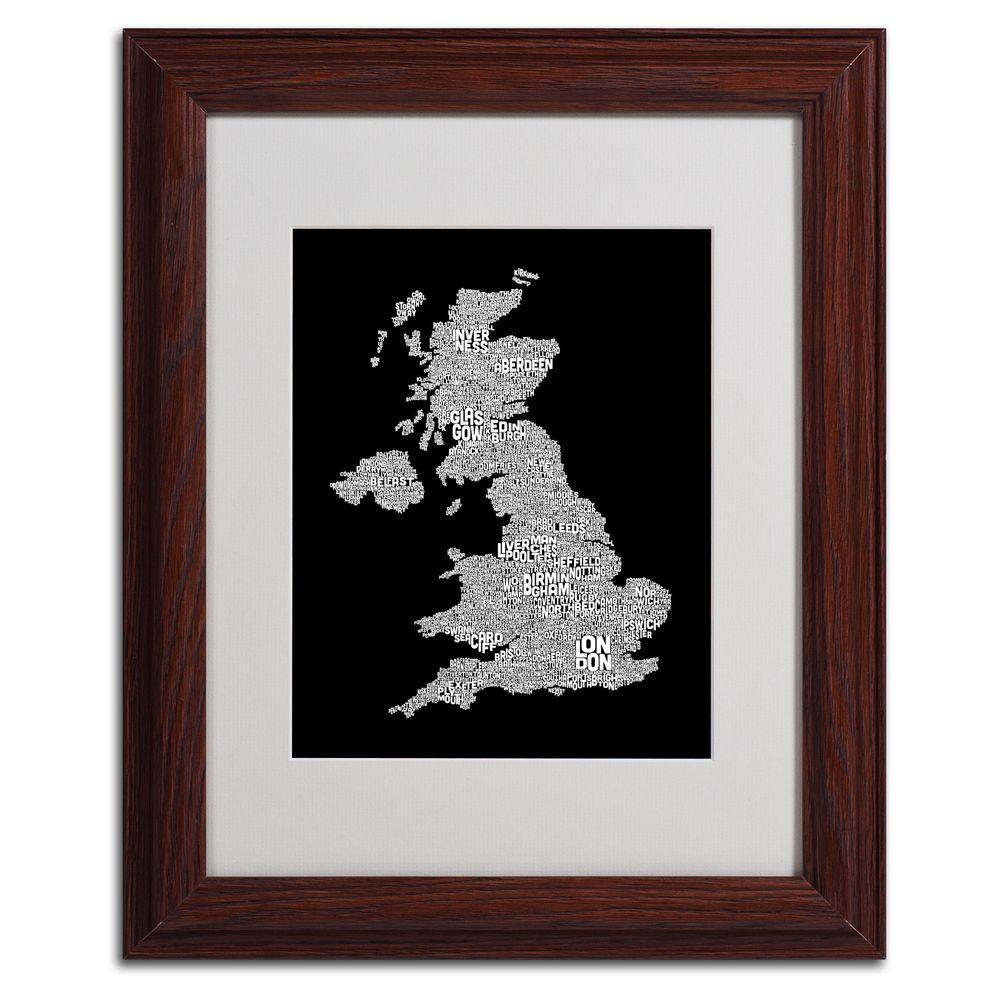 11 in. x 14 in. UK Cities Text Map 6 Matted
