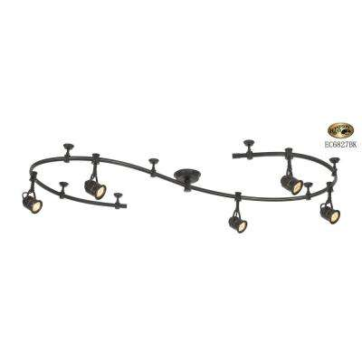 5 Light Black Flexible Track Lighting Starter Kit