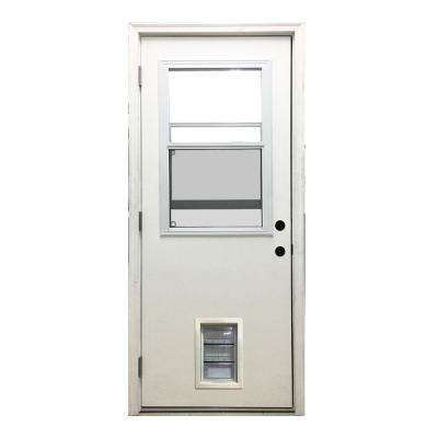 32 in. x 80 in. Classic Vented Half Lite RHOS White Primed Textured Fiberglass Prehung Front Door with Med Pet Door