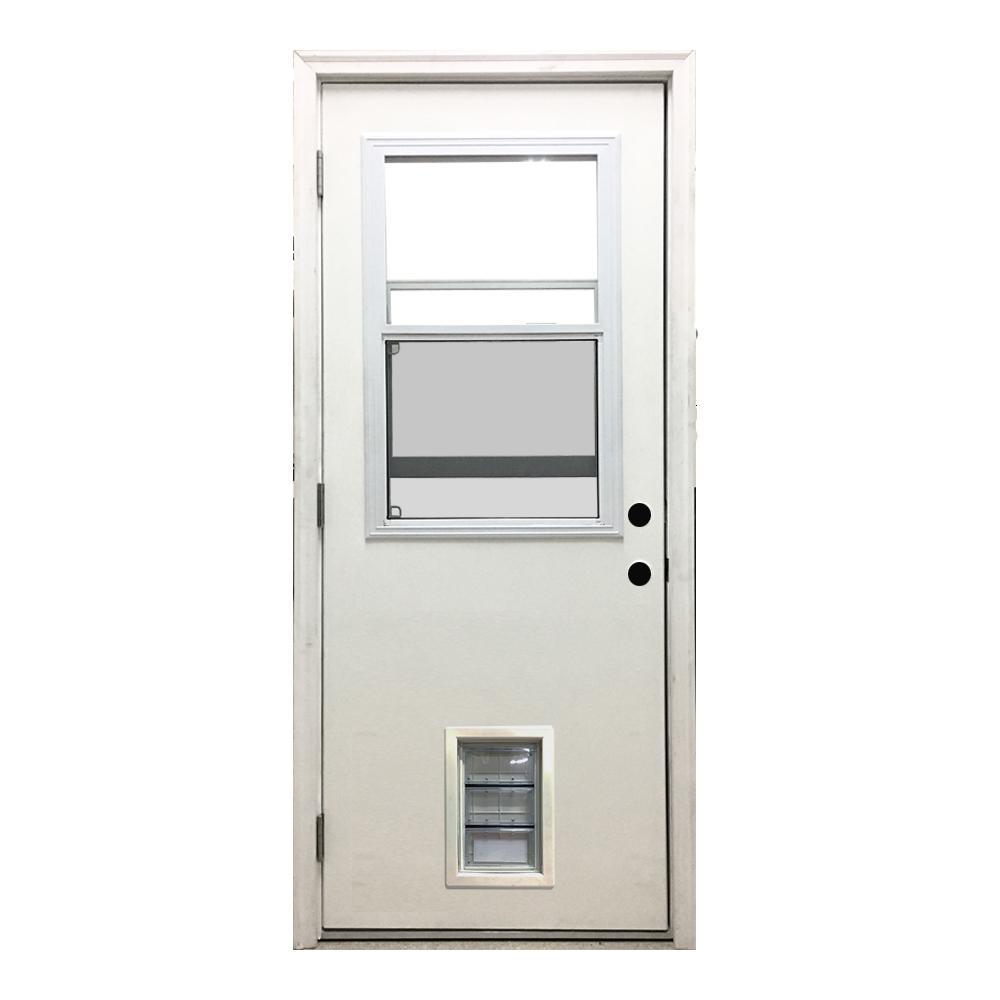 36 in. x 80 in. Classic Vented Half Lite RHOS White Primed Textured Fiberglass Prehung Front Door with Med Pet Door