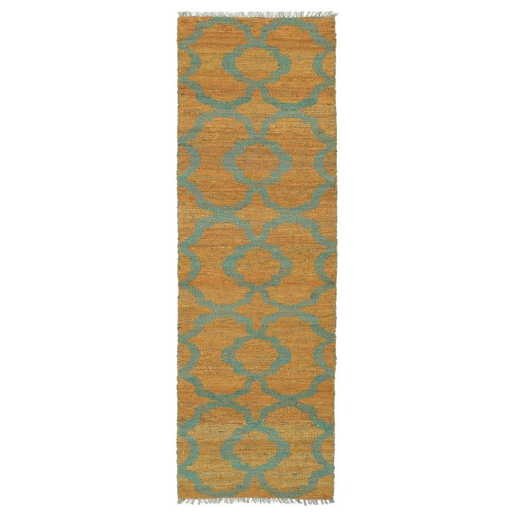 Kaleen Kenwood Turquoise 2 ft. x 6 ft. Double Sided Runner