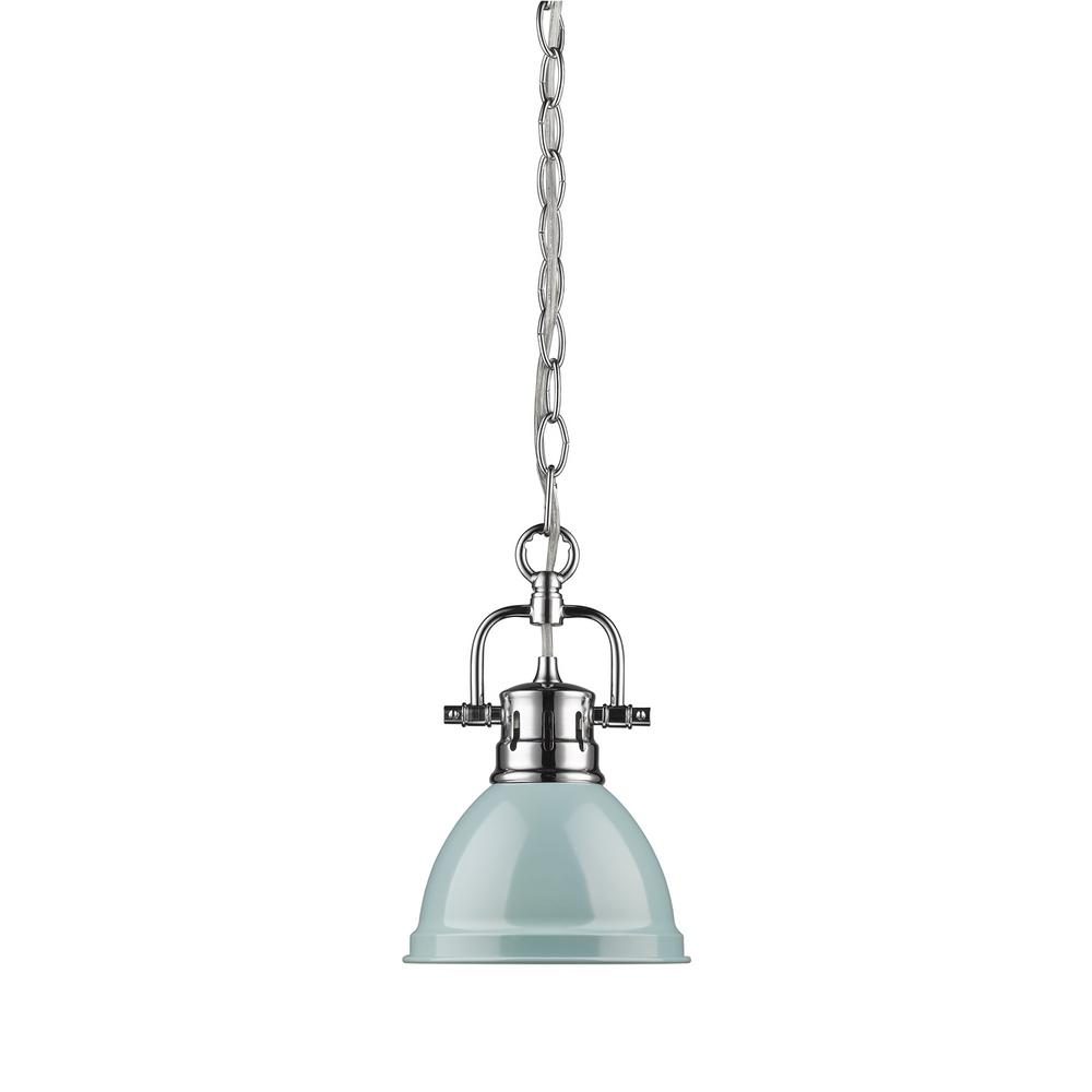 Duncan 1-Light Chrome Mini Pendant with Sea Foam Shade (Chain)