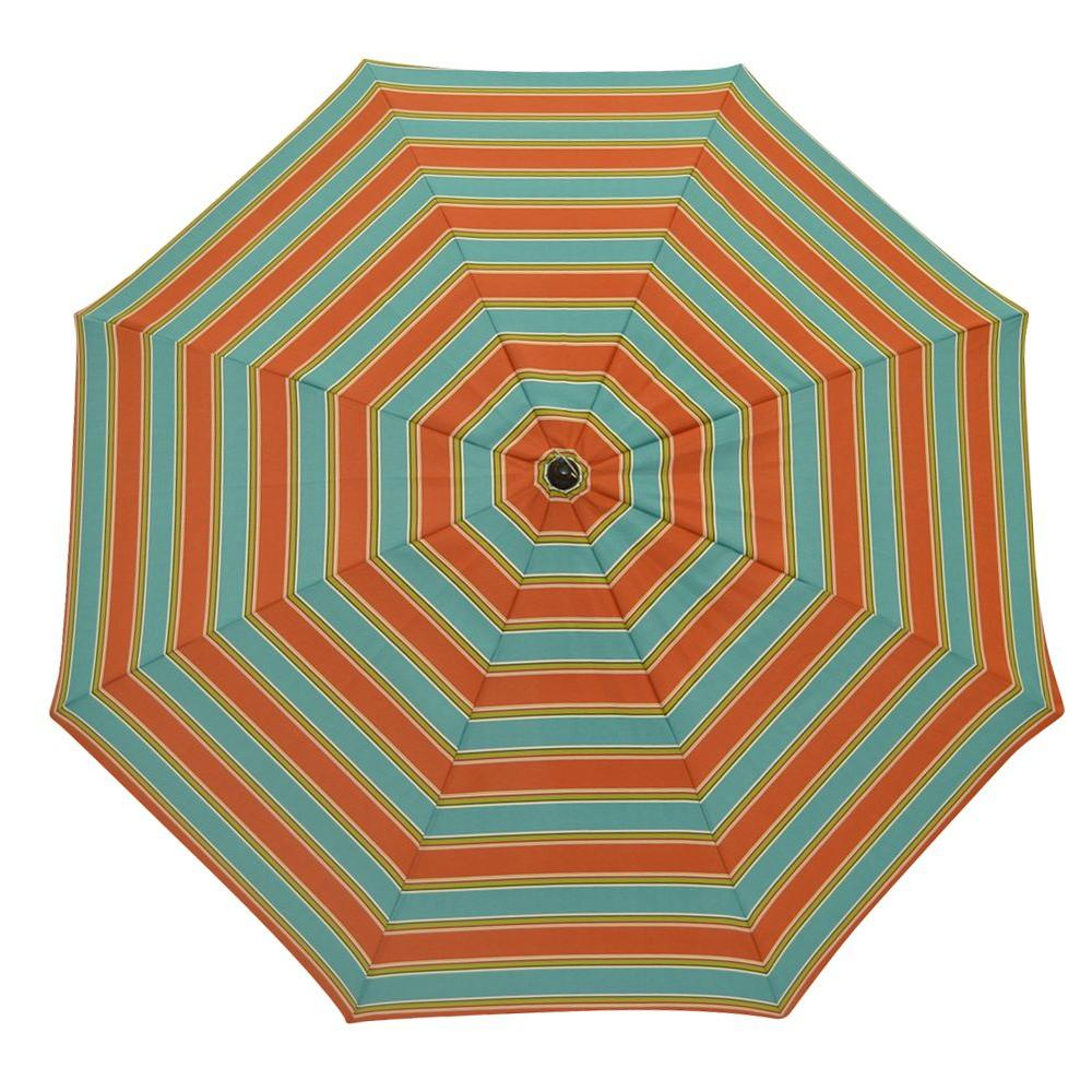 Plantation Patterns 7-1/2 ft. Patio Umbrella in Langwell Stripe-DISCONTINUED