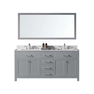 Colette 72 in. W x 22 in. D x 34.2 in. H Bath Vanity in Taupe Grey w/ Marble Vanity Top in White w/ White Basin & Mirror