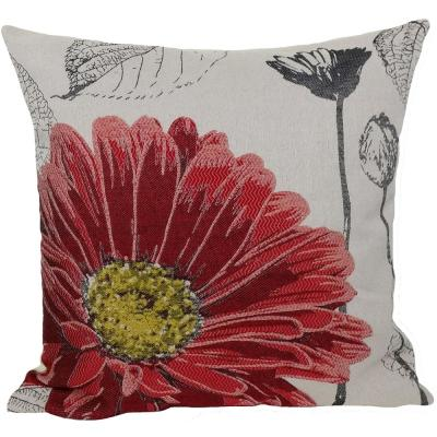 18 in. x 18 in. Red Flower Embroidery Collection with Feather Filled Pillow