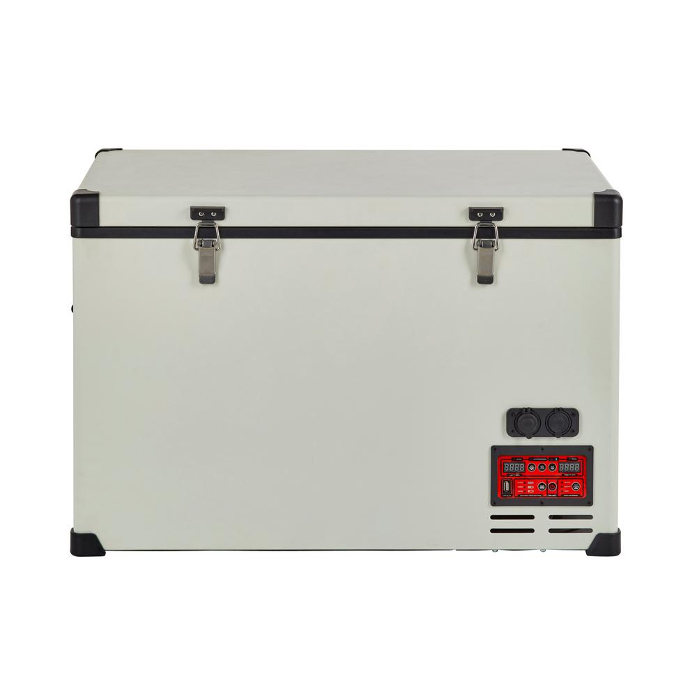 Unique 2.8 cu. ft. 80 l Solar 12-Volt/24-Volt DC or 110-Volt AC Portable Refrigerator-Freezer in White This AC/DC powered fridge/freezer is versatile, whether used in your vehicle at camp, cottage or your home. It keeps your food fresh and your energy consumption low (world's most reliable DC cooling system). Individual compartment temperature control enables customizable fridge/freezer combinations, and its rugged construction and digital control panel make this system essential for off-grid life (deep cycle marine battery required for off-grid use). Color: White.