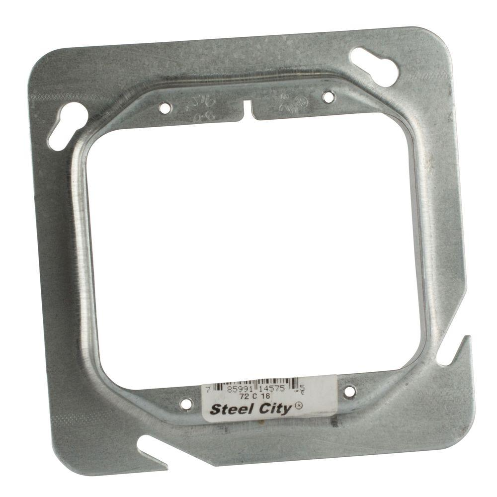 4-11/16 in. 3/4 in. Raised Pre-Galvanized Steel Square Box Device Cover