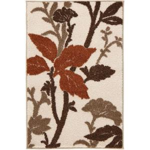 Blooming Flowers Ivory/Rust 3 ft. x 5 ft. Area Rug