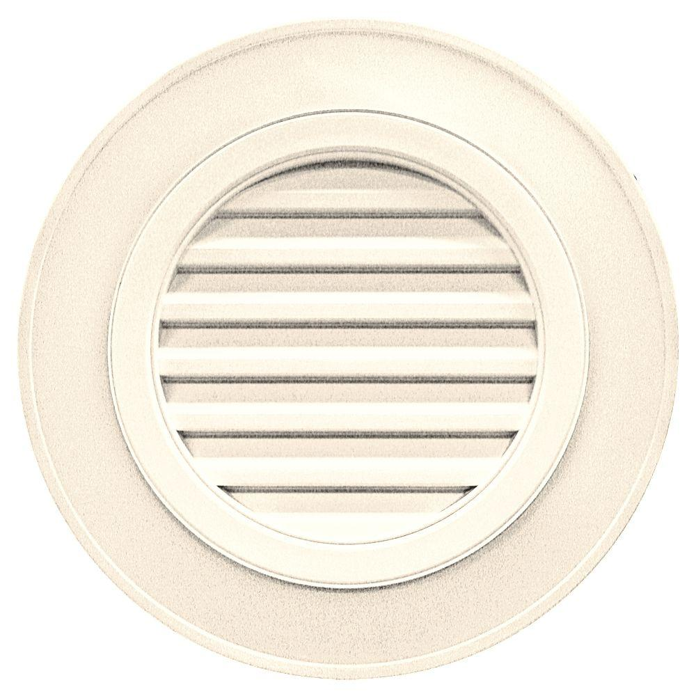Builders Edge 28 in. Round Gable Vent in Sandstone Beige (without Keystones)