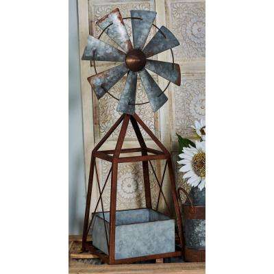 Brown and Gray Iron and Zinc Windmill Planter
