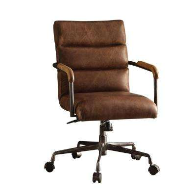 Harith Retro Brown Top Grain Leather Office Chair