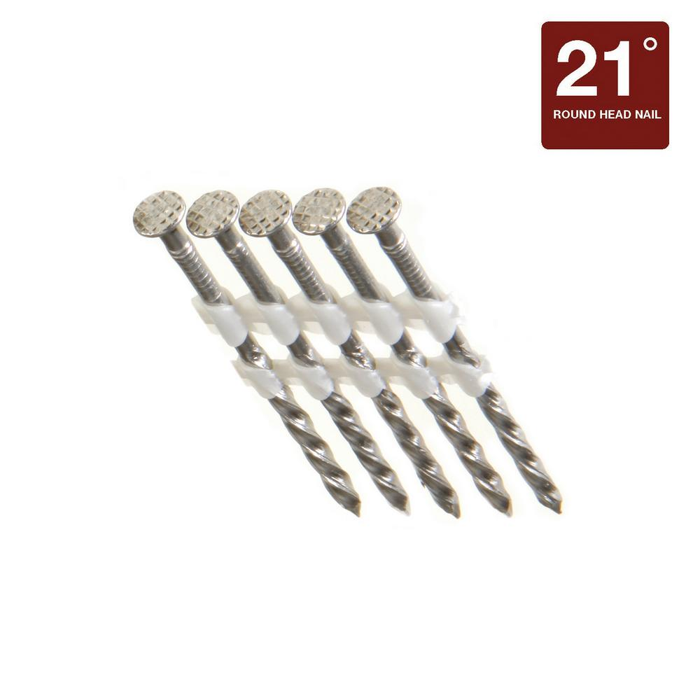 Grip Rite 3 1 4 In X 0 131 In 21 Degree 304 Stainless Steel Spiral Shank Nails 1000 Pack Maxc62907 The Home Depot