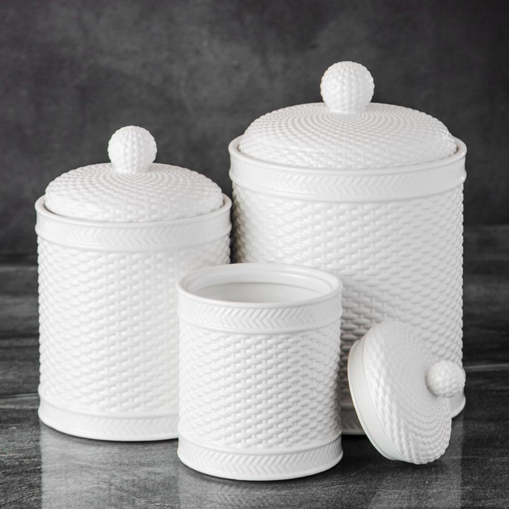 white kitchen canisters basket weave canister set set of 3 61292 the home depot 15439