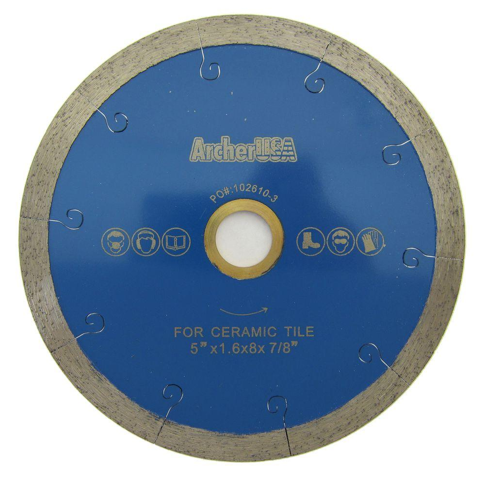 Archer USA 5 in. Continuous Rim Diamond Blade with J-Slot for Tile Cutting