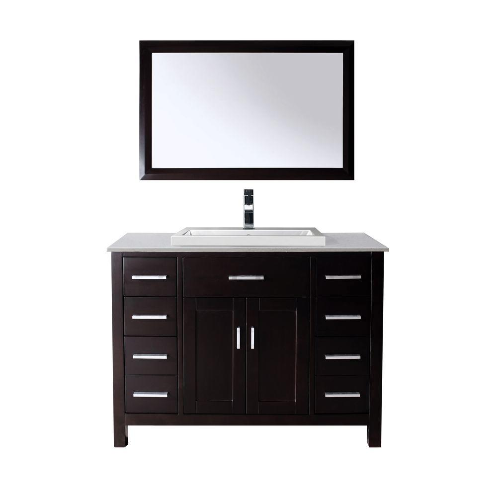Studio Bathe Kelly 48 in. Vanity in Espresso with Solid Surface Marble Vanity Top in Carrara White and Mirror