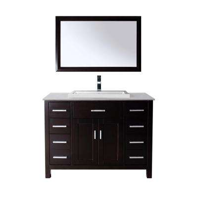Kelly 48 in. Vanity in Espresso with Solid Surface Marble Vanity Top in Carrara White and Mirror