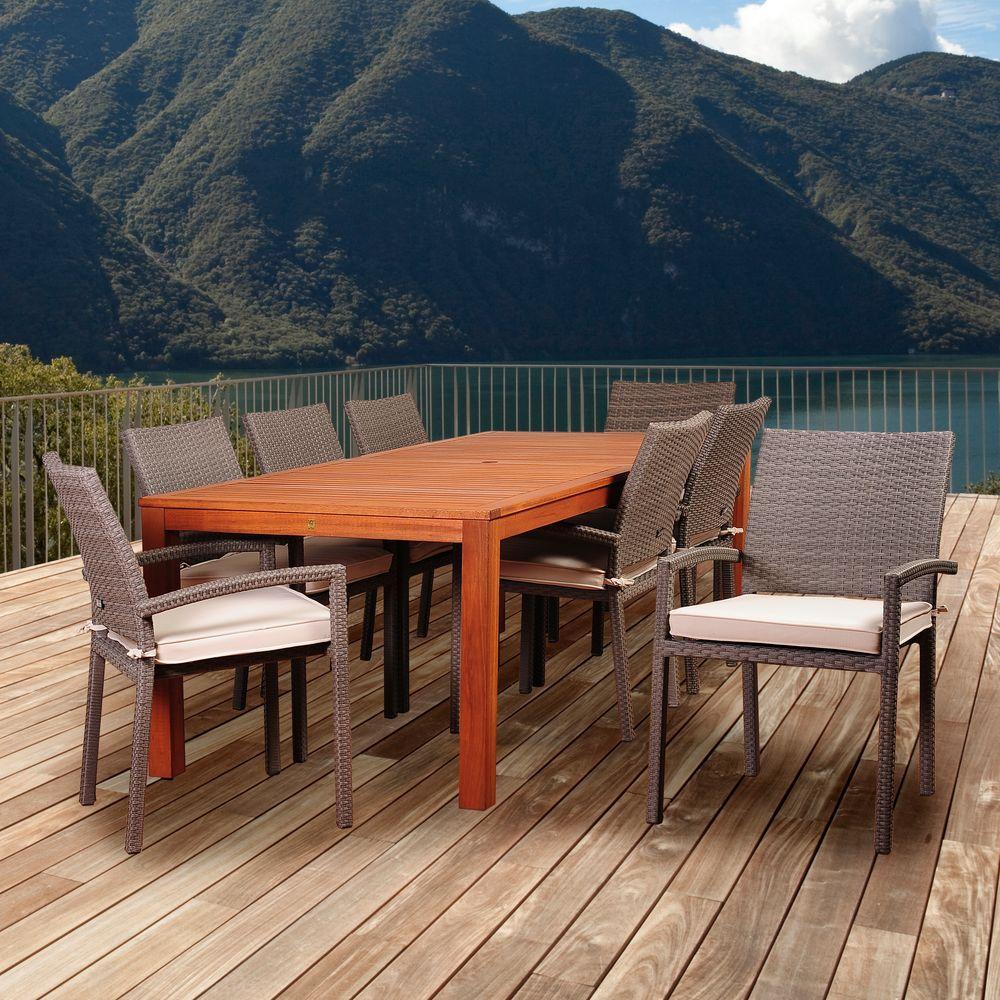Peninsula 9-Piece Eucalyptus/Wicker Rectangular Patio Dining Set with Off-White