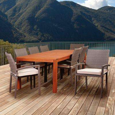 Peninsula 9-Piece Eucalyptus/Wicker Rectangular Patio Dining Set with Off-White Cushions