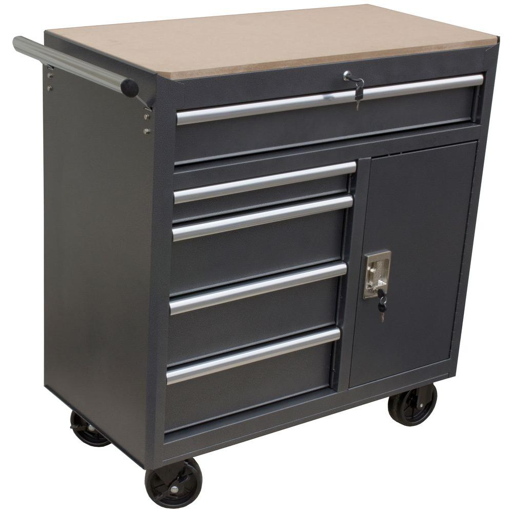 WEN 36 in. 5-Drawer Roll Away Tool Cabinet-74365 - The Home Depot