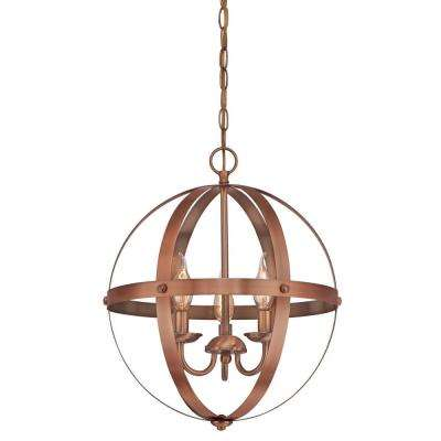 Stella Mira 3-Light Washed Copper Chandelier