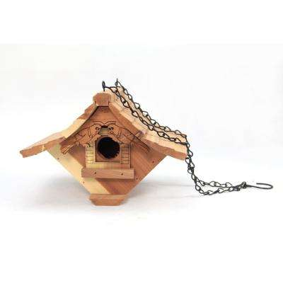 8 in. Red Cedar Wood Chalet Bird Feeder