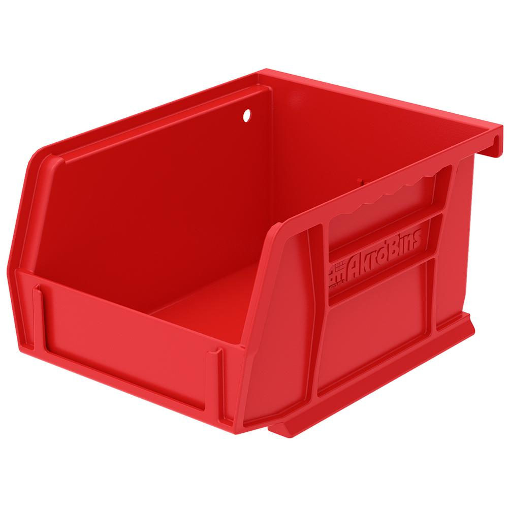 AkroBin 4.1 in. 10 lbs. Storage Tote Bin in Red with
