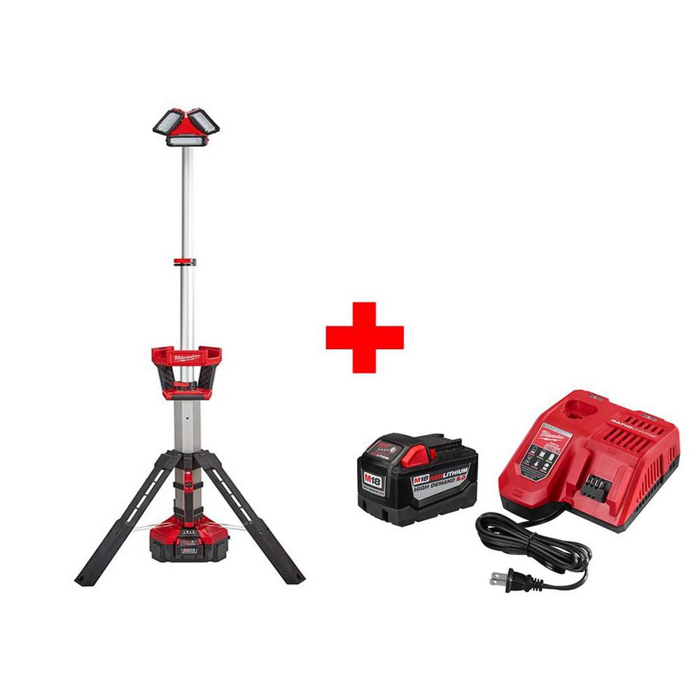 Milwaukee M18 18 Volt Lithium Ion Cordless Rocket Led Stand Light Charger With Free M18 Rapid Charger And 9 0ah Battery 2135 21hd 48 59 1890 The