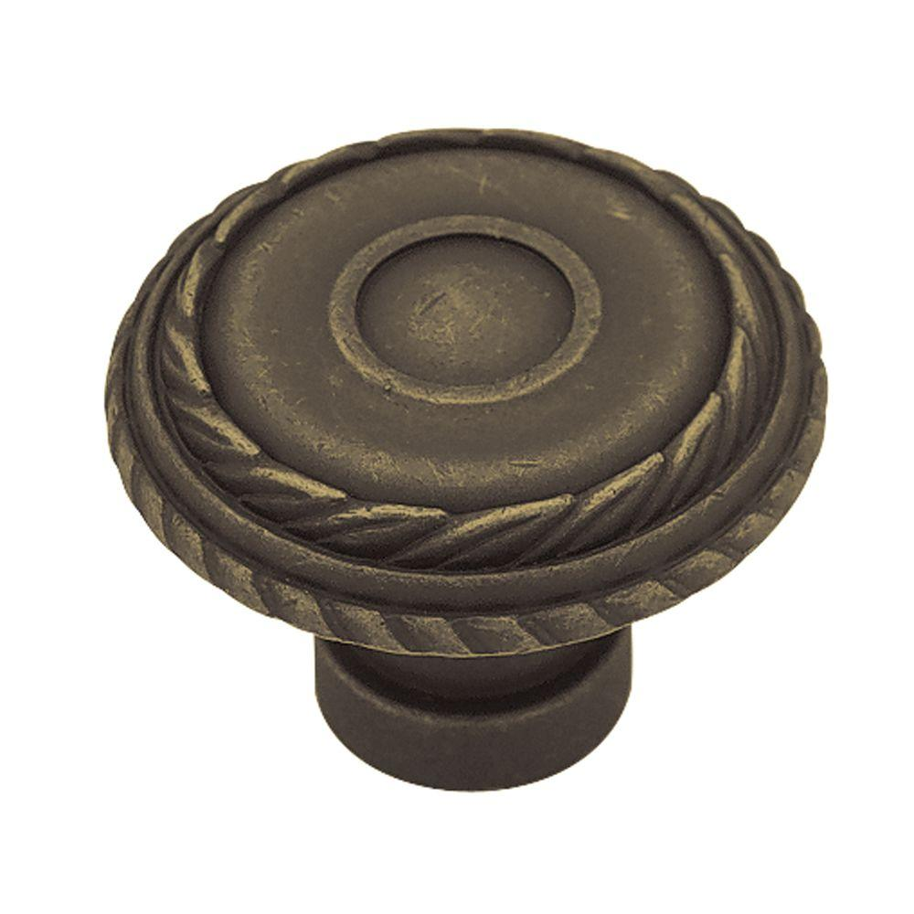 Liberty Rustique 1-3/8 in. Distressed Oil Rubbed Bronze Laurel Cabinet Knob