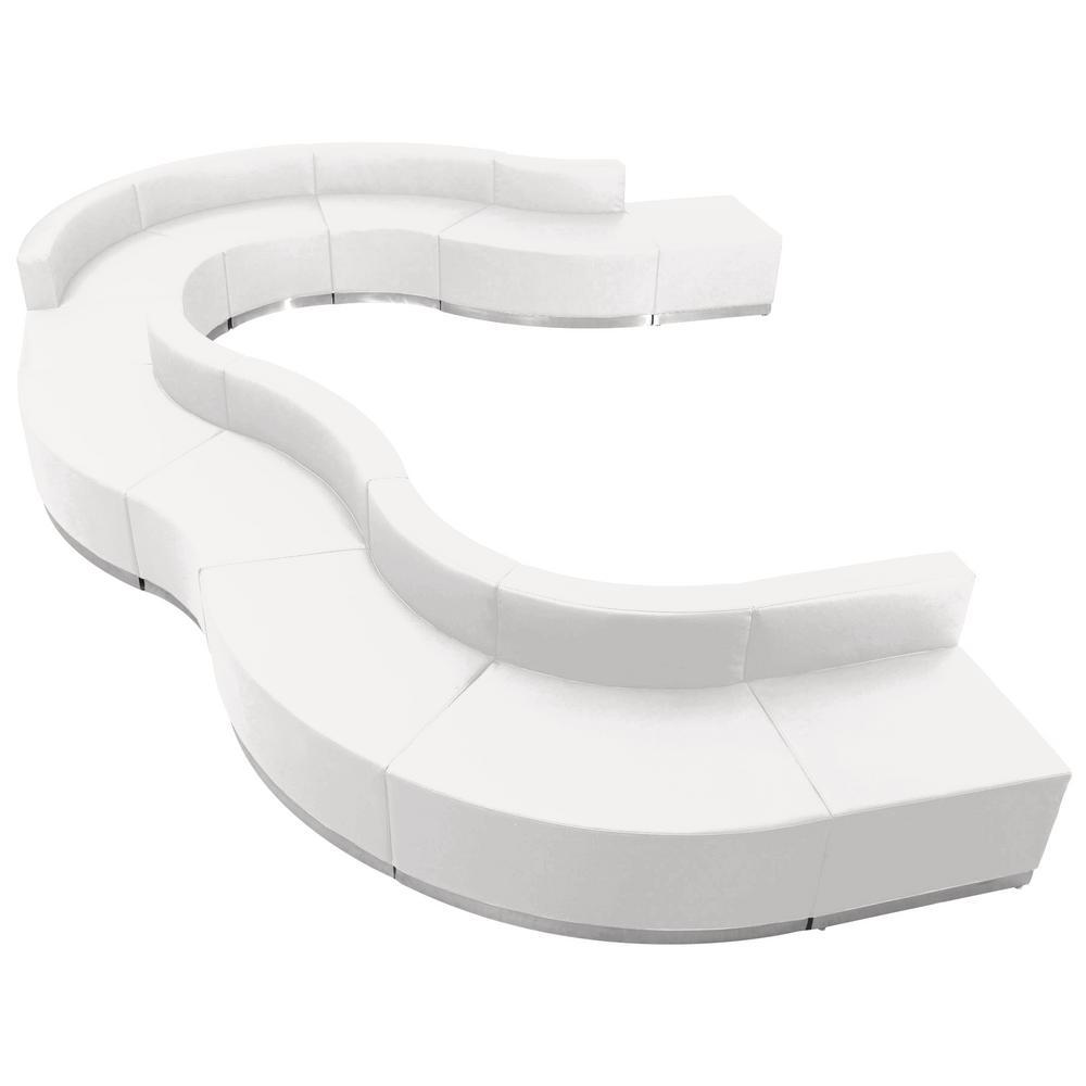 Hercules Alon Series 11-Pieces White Leather Reception Configuration