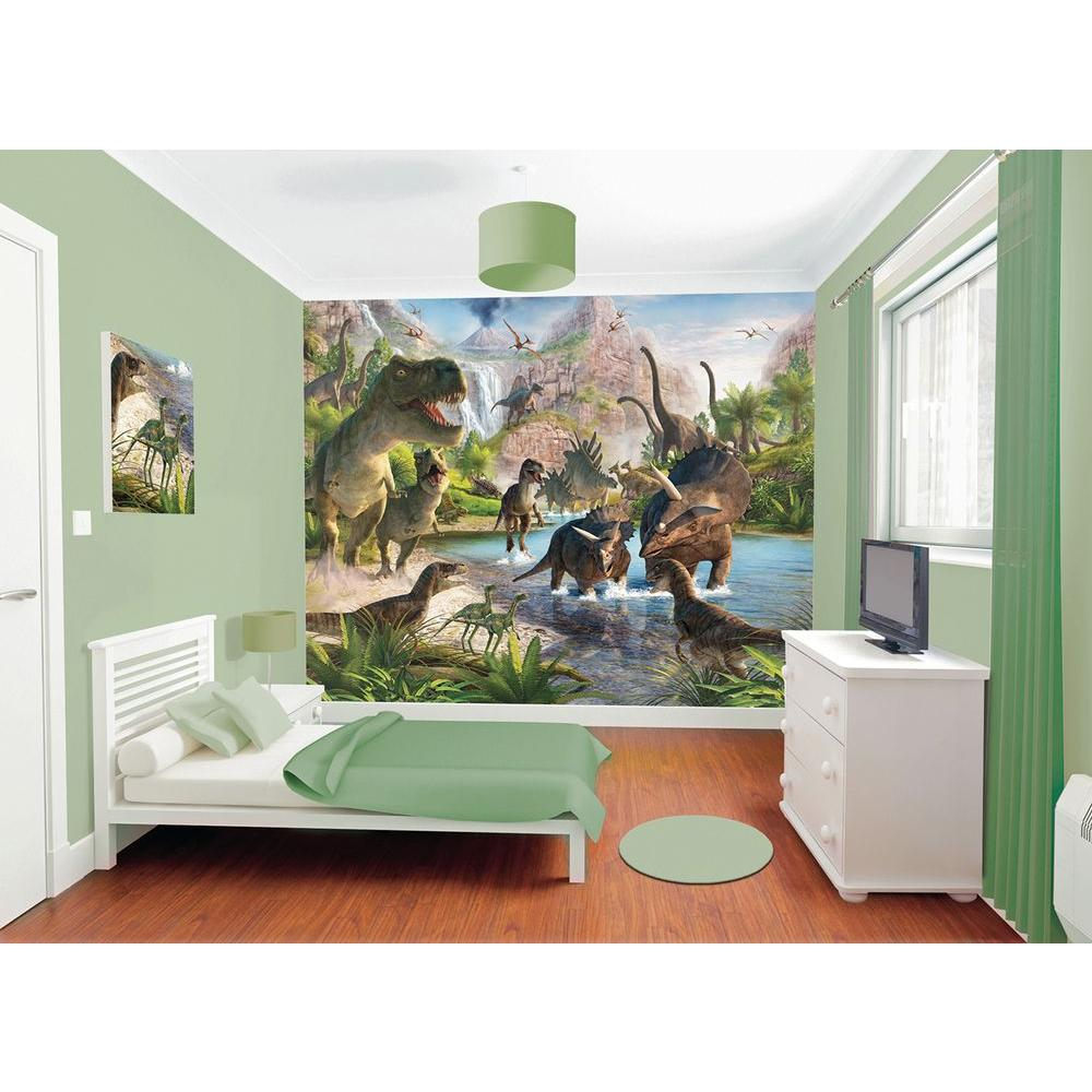 120 in. H x 96 in. W Dinosaur Land Wall Mural