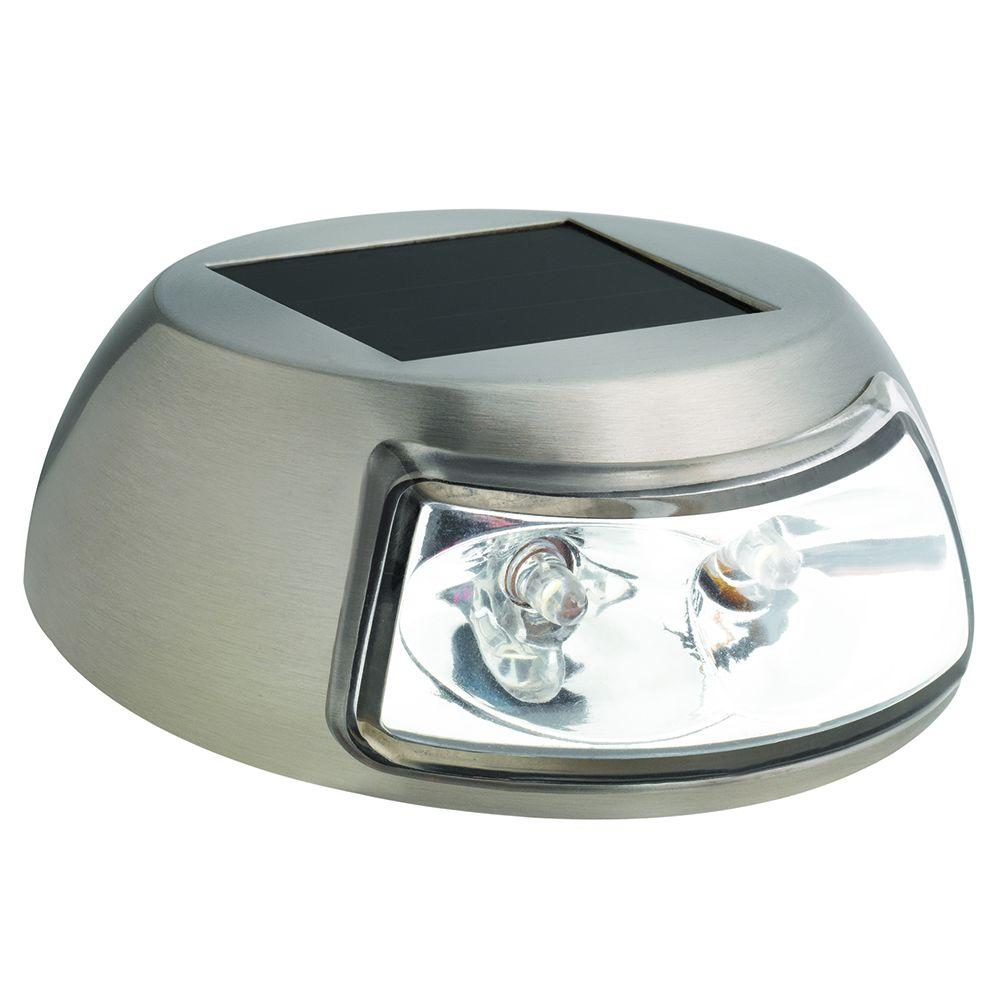 Hampton Bay 2 Light Stainless Steel Outdoor Solar Step Light (4 Pack)