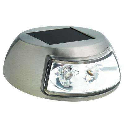 2-Light Stainless Steel Outdoor Integrated LED Solar Step Light (4-Pack)