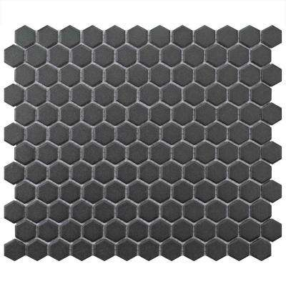 Gotham Hexagon Black 10-1/4 in. x 11-3/4 in. x 5 mm Porcelain Unglazed Mosaic Tile