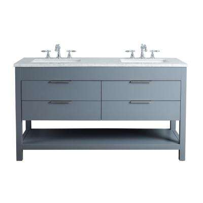 Rochester 60 in. Grey Double Sink Bathroom Vanity with Marble Vanity Top and White Basin