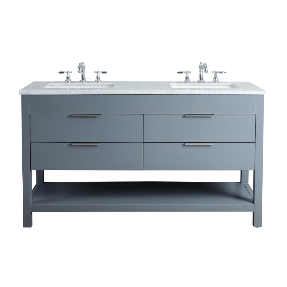Stufurhome Rochester 60 in. Grey Double Sink Bathroom Vanity with ... for grey bathroom vanity home depot  83fiz