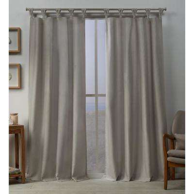 Loha 54 in. W x 96 in. L Linen Blend Braided Tab Top Curtain Panel in Beige (2 Panels)