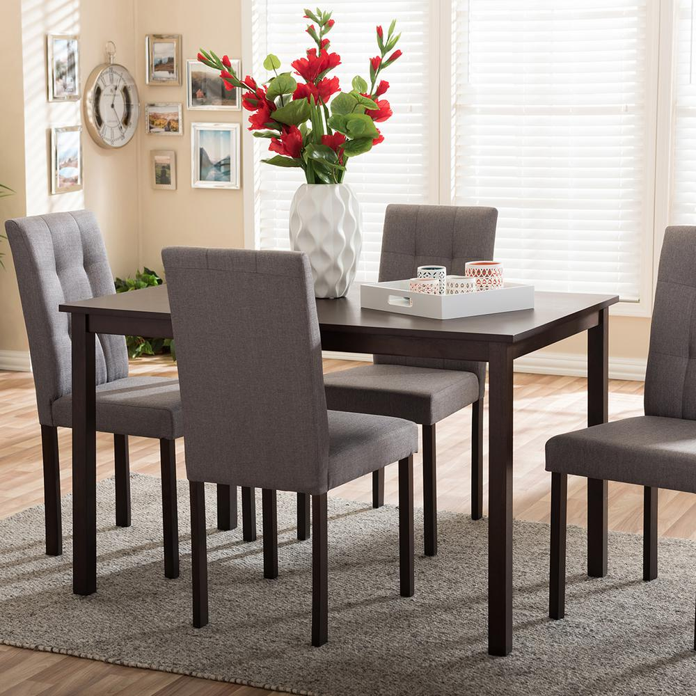 Andrew 9 Grids 5 Piece Gray Fabric Upholstered Dining Set
