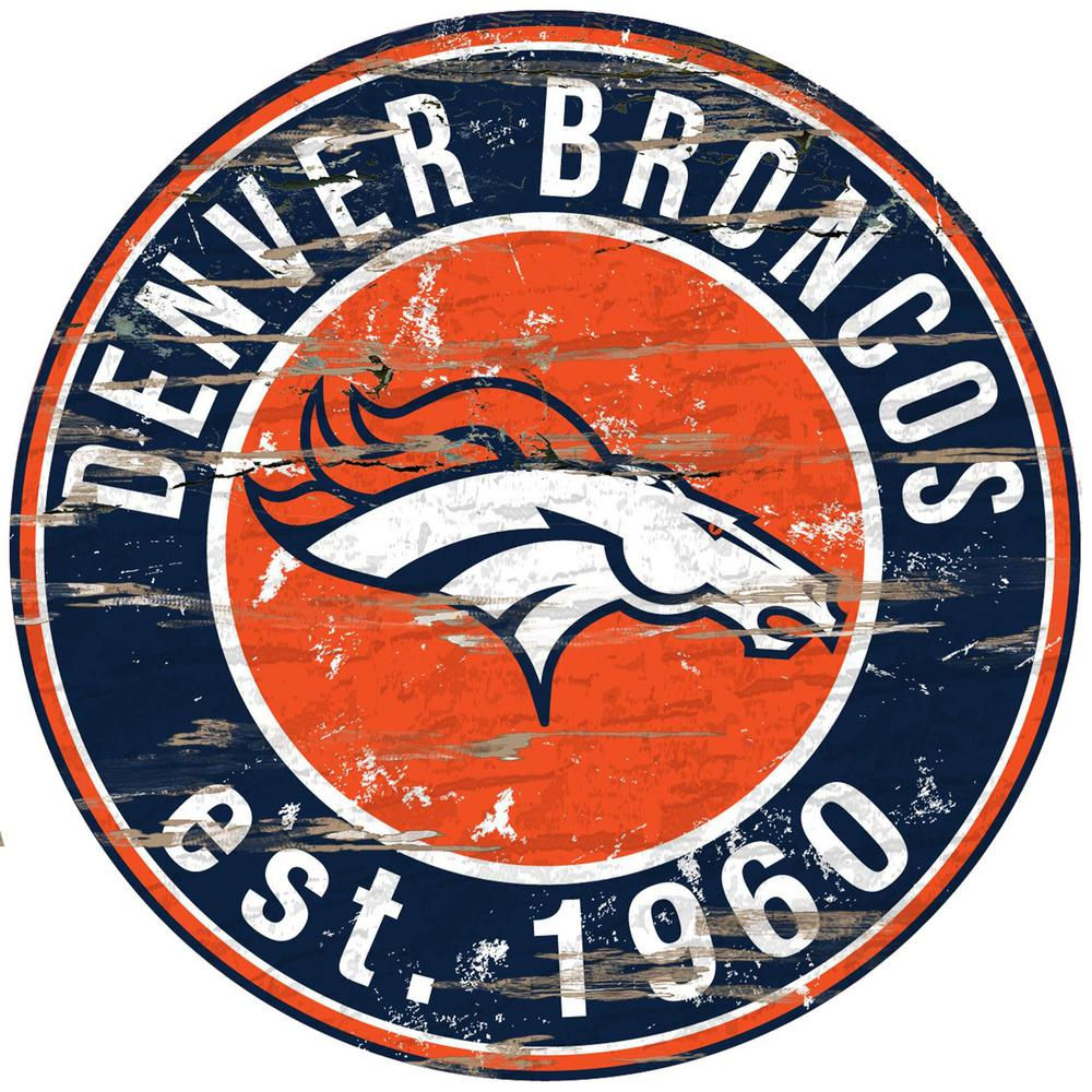 24quot; NFL Denver Broncos Round Distressed SignN0659DEN  The Home Depot