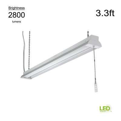 3.3 ft. White 2800 Lumen Integrated LED Shop Light with Pull Chain and Hanging Chain