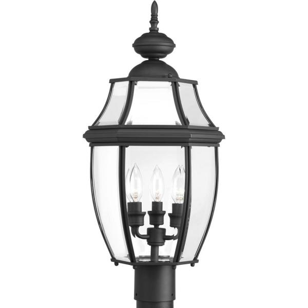 New Haven Collection 3-Light Outdoor Black Post Lamp