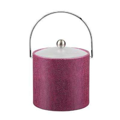 3 Qt. Exotic Plum Ice Bucket with Bale Handle and Acrylic Lid with Metal Ball Knob