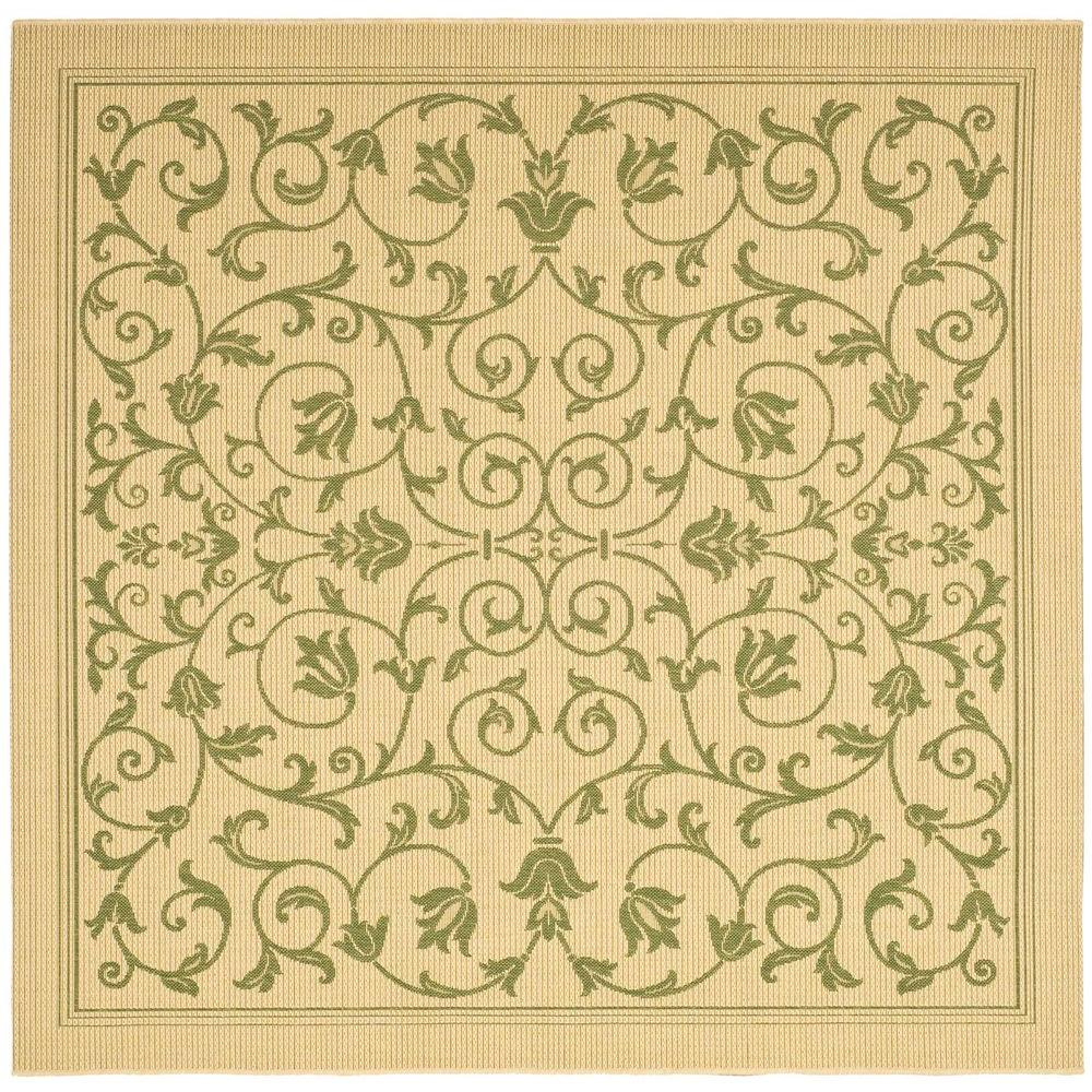 Courtyard Natural/Olive 7 ft. 10 in. x 7 ft. 10 in.