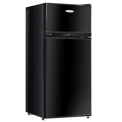 3.4 cu. ft. Unit Stainless Steel Compact Mini Refrigerator Freezer Cooler 2 Doors in Black