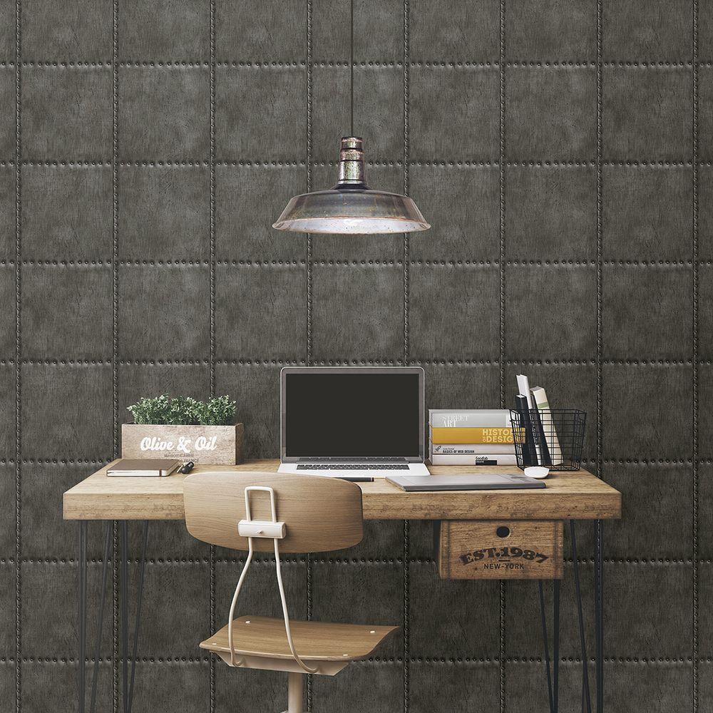 Charcoal Sheet Metal Rivets Wallpaper