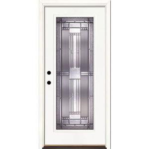 Feather River Doors 37 5 In X 81 625 Preston Patina Full Lite Unfinished Smooth Right Hand Inswing Fibergl Prehung Front Door 643105 The Home